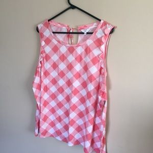 Sleeveless Pink Plaid Tank 3x Crown and Ivy